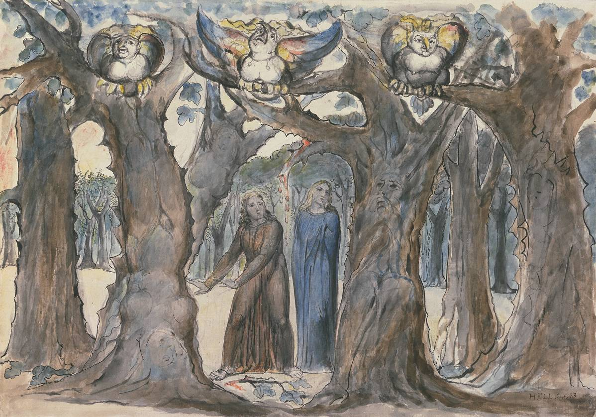 The Wood of the Self-Murderers: The Harpies and the Suicides 1824-7 by William Blake 1757-1827