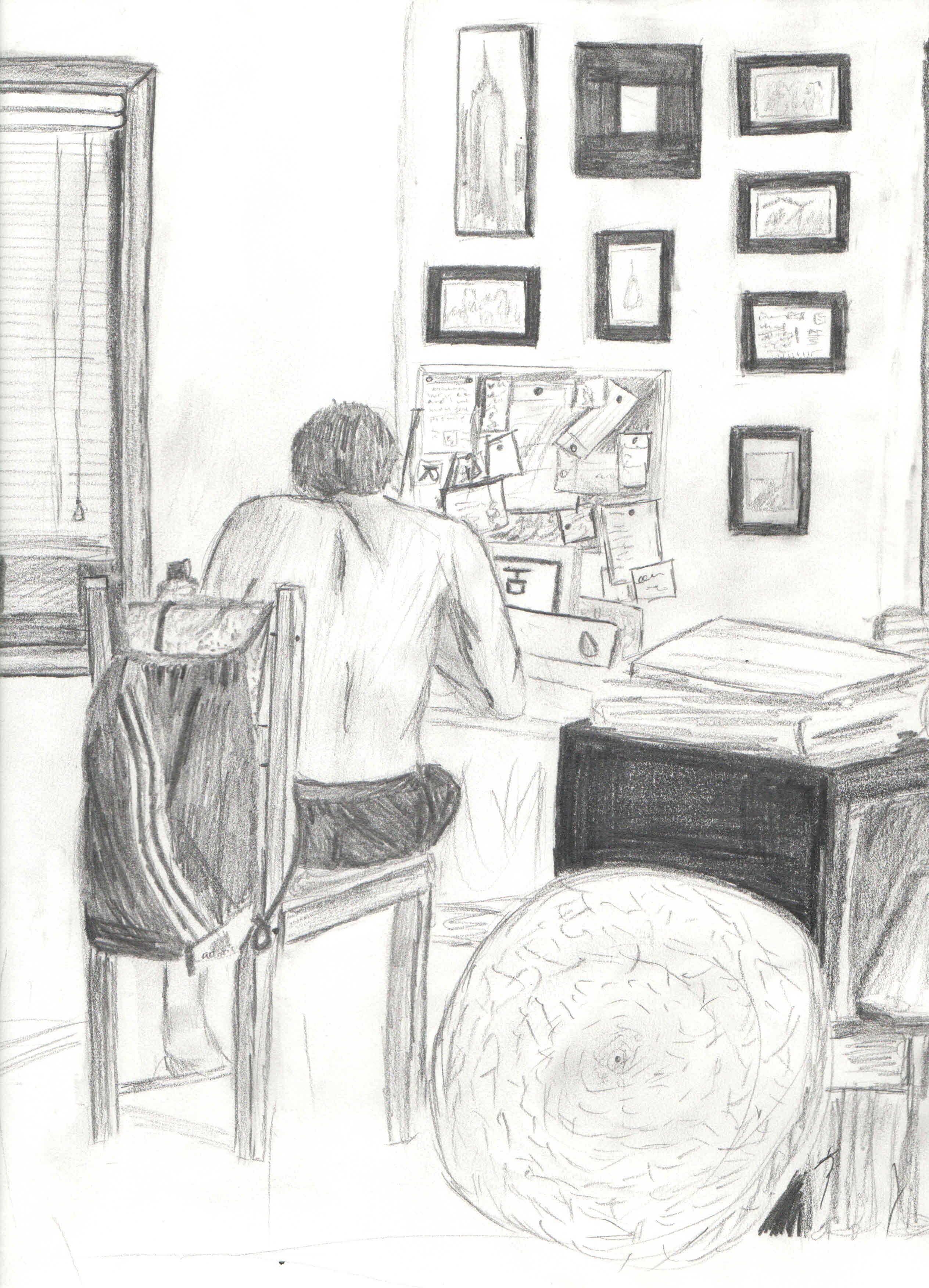 At my desk sketch